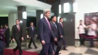 US Secretary of State John Kerry meets Secretary of the Ho Chi Minh City Party Committee Dinh La Thang as he begins his farewell tour in Vietnam...