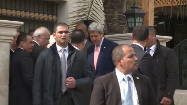 Secretary of State John Kerry meets with Palestinian President Mahmoud Abbas in Amman Jordan on February 21 2016