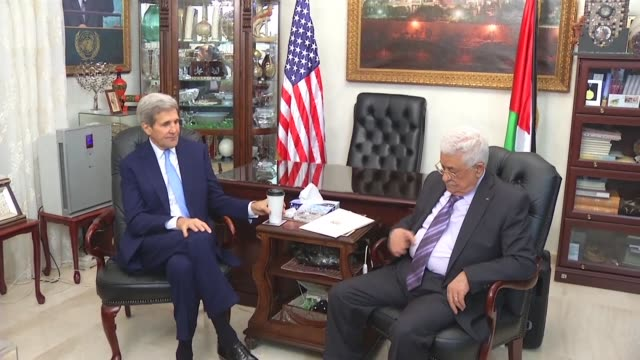US Secretary of State John Kerry met Palestinian president Mahmud Abbas on Saturday as part of an international diplomatic push to quell a wave of...
