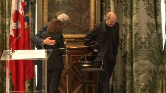 US Secretary of State John Kerry speaks at Paris city hall in both English and flawless French saying that tolerance freedom and truth will triumph...