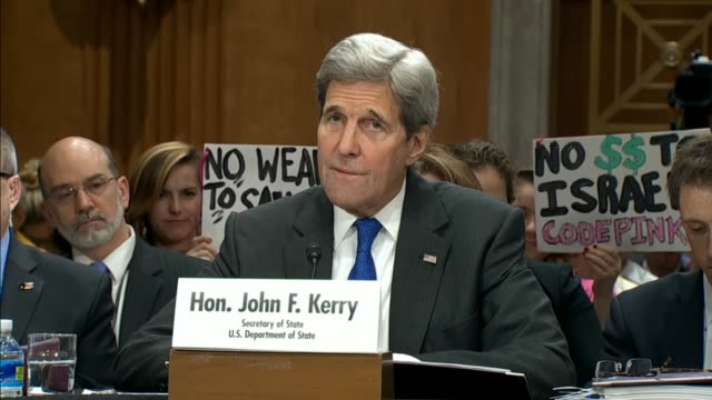 Secretary of State John Kerry tells the Senate Foreign Affairs Committee at a budget hearings that the foreign policy budget of the Federal...