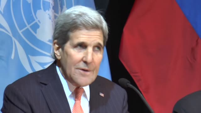 Secretary of State John Kerry UN Special Envoy for Syria Staffan de Mistura and Russia's Foreign Minister Sergei Lavrov hold a joint press conference...