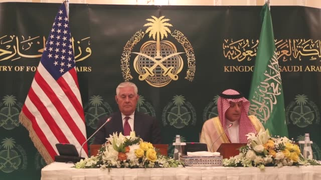 Secretary of State Rex Tillerson and Saudi Foreign Minister Adel alJubeir attend a joint press conference during the SaudiIraqi Coordination Council...