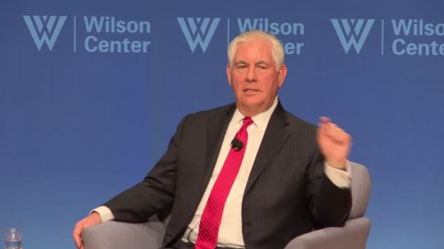 US Secretary of State Rex Tillerson answers questions about his possible legacy at an event sponsored by the Wilson Center This as rumors of his...