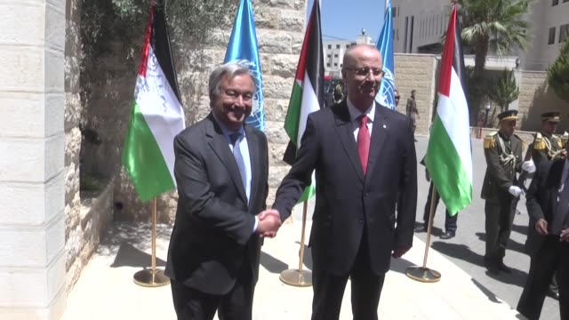 SecretaryGeneral Antonio Guterres visits Ramallah meets with Palestinian Prime Minister Rami Hamdallah at the Prime Ministry office in the West Bank...