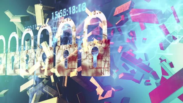 Security-Konzept : Schloss auf digitalen Bildschirm, kontrastierende, 3d-render, Geld, Gold