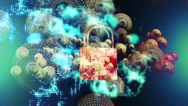 Security concept: Lock on digital screen, contrast, 3d render, Money, Gold