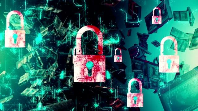 Concetto di sicurezza : Lucchetto su schermo digitale, contrasto, Rendering 3d, denaro, Gold