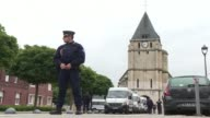 Security forces are on guard outside the church in SaintEtienneduRouvray where yesterday two jihadists struck in broad daylight storming the church...
