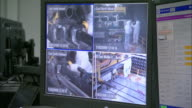A security monitor shows four camera views near two computer screens.
