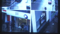 CU, Security surveillance monitor divided into four separate images of  London streets, London, England