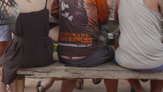 seen from behind close up anon man sitting at table bum crack/tradies crack showing between shirt and low slung shorts