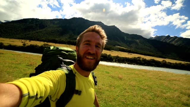 Self portrait of young man hiking in New Zealand