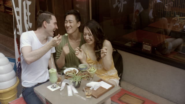 MONTAGE - Selfie Friends Ice-cream Sidewalk Cafe Slow motion Japan.