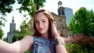 Selfie photo in city