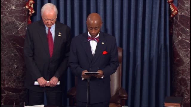 Senate Chaplain Admiral Dr Barry Black opens a session of the Senate praying that as the world listens to the American political rhetoric and history...