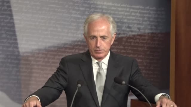 Senate Foreign Relations Committee chairman Bob Corker of Tennessee takes questions from reporters at a news conference on a bill named for Taylor...
