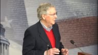 Senate Majority Leader Mitch McConnell of Kentucky is asked about and infrastructure spending proposal of Donald Trump expressing his preference that...