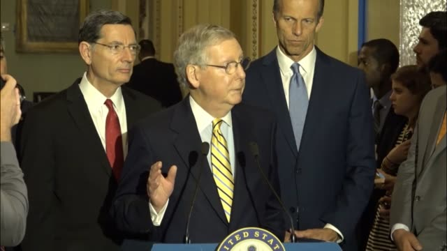 Senate Majority Leader Mitch McConnell of Kentucky is asked about the fate of the filibuster which he says there is no interest in imposing on the...