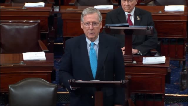 Senate Majority Leader Mitch McConnell of Kentucky speaks on the Senate floor in opposition to an effort by President Barack Obama's implementing...