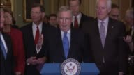 Senate Majority Leader Mitch McConnell of Kentucky tells reporters at a weekly briefing that he and others are opposed to the TransPacific...