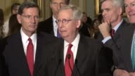 Senate Majority Leader Mitch McConnell takes questions from reporters at a regular weekly press briefing suggesting that Republicans have not given...