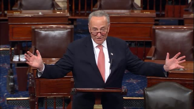 Senate Minority Leader Charles Schumer of New York delivers a critique of President Donald Trump and his first annual message to Congress at a joint...