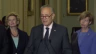 Senate Minority Leader Chuck Chuck Schumer of New York answers questions from journalists at a weekly briefing dismissing a healthcare reform bill by...