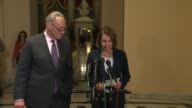 Senate Minority Leader Chuck Schumer and House Minority Leader Nancy Pelosi discuss a Congressional Budget Office projection released hours earlier...