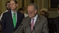 Senate Minority Leader Chuck Schumer of New York asks reporters at a weekly briefing why the Senate would go through another six months on tax reform...