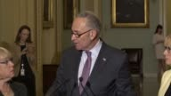 Senate Minority Leader Chuck Schumer of New York calls on the Trump administration to provide urgent humanitarian aid to Puerto Rico discussing...