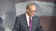 Senate Minority Leader Chuck Schumer of New York speaks with reporters in the Senate studio hours after its defeat on the floor of the Health Care...
