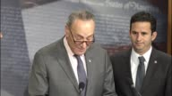 Senate Minority Leader Chuck Schumer of New York tells reporters at a press briefing with colleagues opposing Oklahoma Attorney General Scott Pruitt...