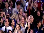 US Senator and Democrat presidential candidate Hillary Clinton receives standing ovation following New Hampshire Primary elections win New England 7...