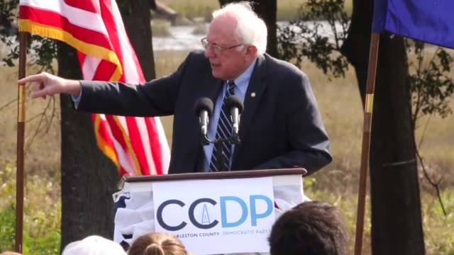 US Senator and Democratic presidential candidate Bernie Sanders addresses supporters on energy policy during the Blue Jamboree campaign event...