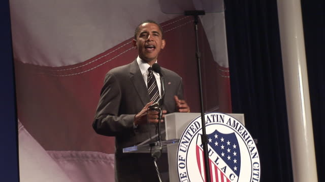 Senator Barack Obama talking about government that represents all America at League of United Latin American Citizens convention during campaign for...