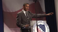 Senator Barack Obama talking about rebuilding roads in Iraq at League of United Latin American Citizens convention during campaign for Democratic...