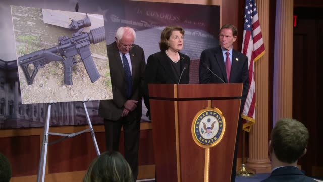 Senator Dianne Feinstein of California answers further questions on bumpstocks the accessory which allows guns to be fired nearly automatically The...