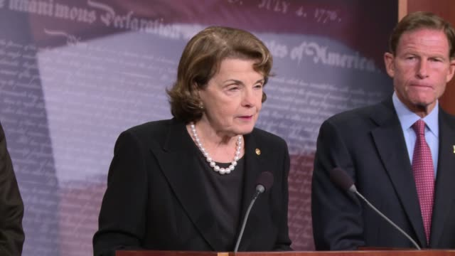 Senator Dianne Feinstein of California answers questions about her proposed legislation to ban / severely limit access to bumpstocks the accessories...