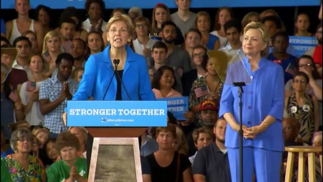 Senator Elizabeth Warren opens for Hillary Clinton at a Cincinnati rally asking the audience about the values of Donald Trump calling him a small...