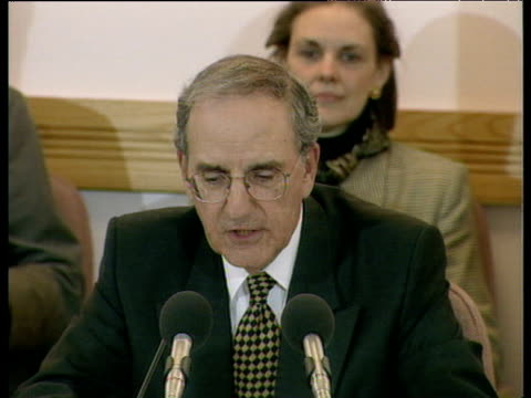 Senator George Mitchell delivers closing remarks as negotiations successfully conclude on Good Friday Agreement