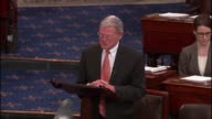 Senator Jim Inhofe of Oklahoma uses a snowball during climate change discussion