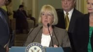 Senator Patty Murray argues at a press briefing that there was no reason for Congress to careen towards another artificial crisis in healthcare...