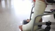 Senior adult leg injury sitting on wheelchair