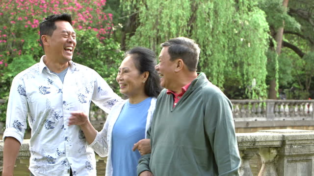 Senior Asian couple with adult son walking in park