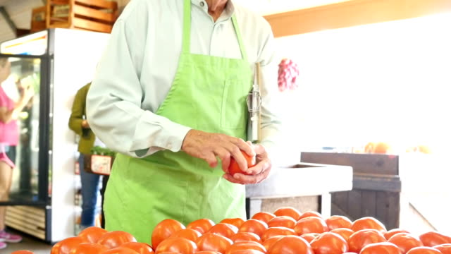 Senior Caucasian grocer examines tomatoes at produce market