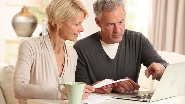 senior couple doing online finances