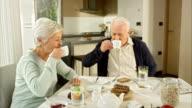 Senior couple drinking tea at breakfast