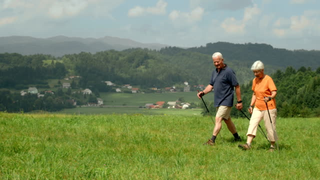 HD DOLLY: Senior Couple Nordic Walking Across Hill