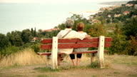 Senior couple sitting on the bench
